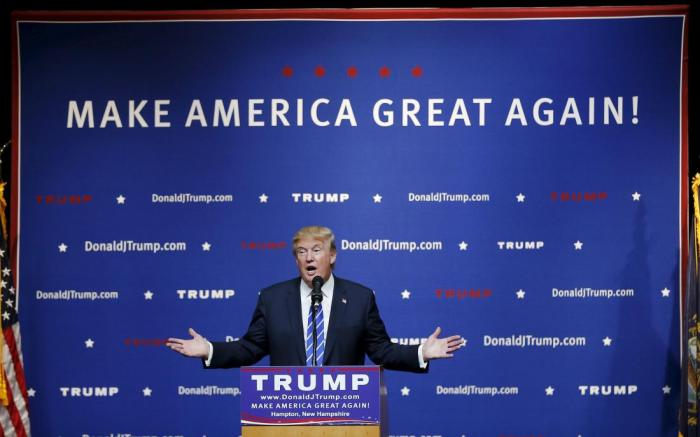 U.S. Republican presidential candidate Trump speaks at a campaign rally in Hampton