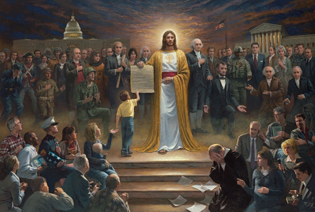[image description: White Jesus holding the constitution with various (mostly white) Americans standing around him with their hands over their hearts or kneeling in worship. The capitol building and supreme court are in the background]
